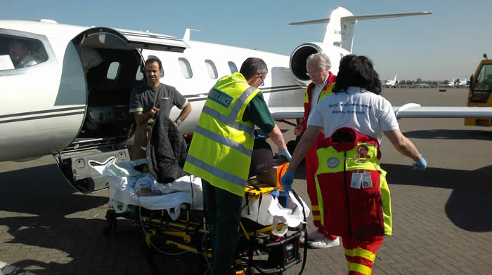 Air ambulance transport operation from London to Kuwait